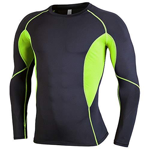 Tenue de Sport SIGETU Hommes Extensible à séchage Rapide à Manches Longues Zys Sport (Couleur : Black Green, Size : S)