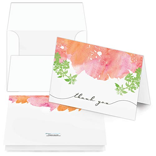 Thank You Cards - Bulk Set Of 25 Thank You Folding Greetings and 25 Envelopes - Beautiful Leaf Art Perfect For All Occasions Including Weddings, Bridal Showers And Baby Showers (Portrait, Orange Art)