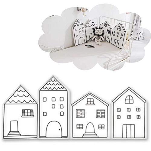 Lembeauty - Pack de 4 Parachoques para bebé, de Terciopelo Suave, para guardería o guardería, con Forma de casa