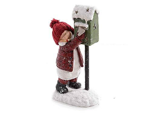 Winterkind mit Wollmütze am Briefkasten 41 cm groß wetterfest Weihnachtsfigur Weihnachtsdeko Dekofigur Kind zur Weihnachtszeit Winterdeko Gartenfigur für Weihnachten