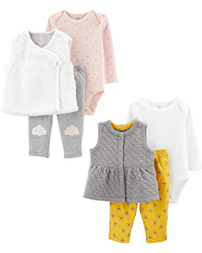 Carter's Baby Girls 2-Pack 3-Piece Vest Set, Heather Grey Quilt/White Clouds, 12 Months