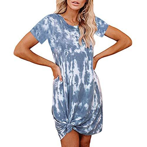 TWIFER Tie-Dye Kleid Damen Sommerkleid Tunika Freizeitkleid Kurzarm Strandkleid Casual Minikleid Rundhals T-Shirtkleid Pyjama Kleid