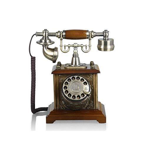 Ldlzjdh Festnetz TEL Telefon-Retro Festnetzanschluss, Metall-Drehknopf, dekoriertes Telefon mit Kabelanschluss, geeignet für Studienbüro Festnetz