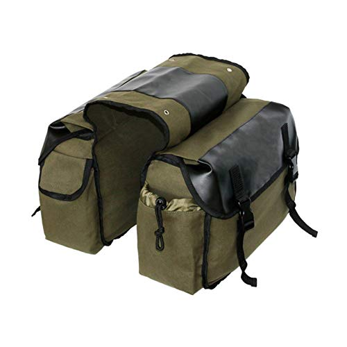 Bicycle Double Side Rear Rack Bag 2 in 1 Trunk Bike Bags Motorcycle MTB Cycling Tail Seat Pannier Pack Luggage Carrier (Color : Green)