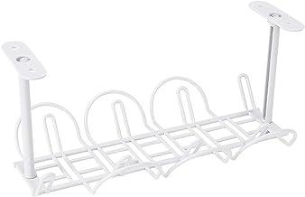 Plateau de rangement de câbles sous le bureau - En plastique - Pour les bureaux et les cuisines - Blanc