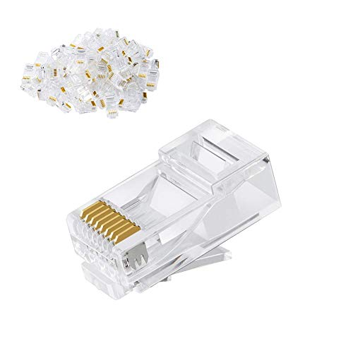 CableCreation Cat6 RJ45 Stecker, 50-Pack Crimpstecker Cat6, Cat6a/ Cat5e RJ45-Steckverbinder, UTP Ethernet-Kabel Crimp-Steckverbinder, Netzstecker für Volldraht und Standardkabel, Transparent