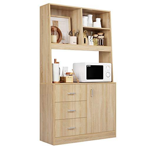 Homfa Küchenschrank Sideboard aus Holz, Hochschrank Highboard Kommode Büffet mit 1 Tür und 3 Schubladen für Küche Esszimmer Wohnzimmer 171x38x100 cm