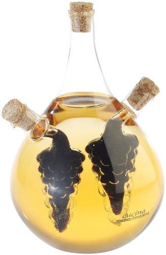 Cucina di Modena Essig Öl Spender: Mundgeblasener Glas Essig- & Ölspender, drei getrennten Kammern, 500ml (Essig- und Oelspender)