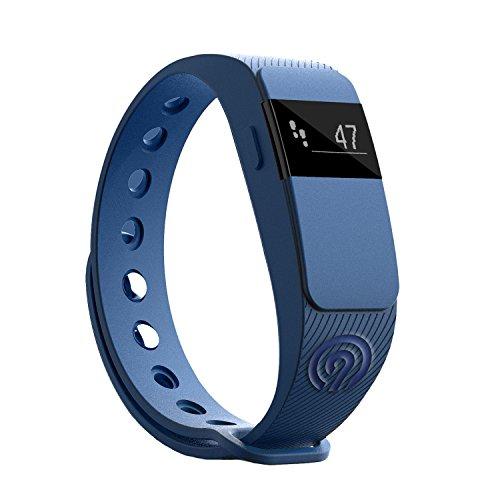 NINETEC Smartfit F2 Blau Fitness Tracker Bluetooth 4.0 Sport Armband Schrittzähler Aktivitätsarmband Fitnessarmband Sportuhr mit Schlafanalyse Kalorienanalyse SMS Anrufe