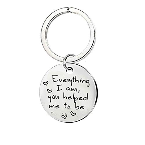 Adokiss Stainless Steel Keychain Tag, Silver Keychains Jewellery Round Tag with Ring Engraved Everything i am You Helped me to be Car Keychain for Gifts