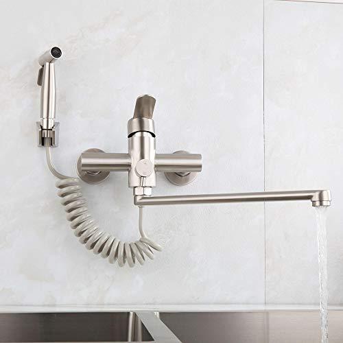 HomeLava rubinetto da cucina a parete con pistola a spruzzo e 2 tipi di getto d'acqua, girevole a 360°, beccuccio 350 mm, acciaio inox spazzolato