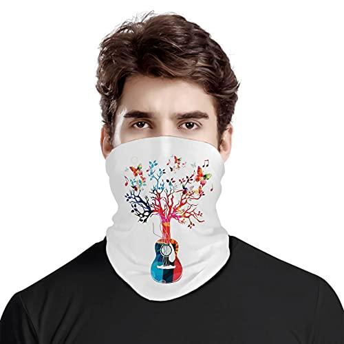 FULIYA Gran cara cubierta bufanda protección cuello, colorido composición musical con árbol de guitarra y mariposas inspiración artística, variedad bufanda unisex