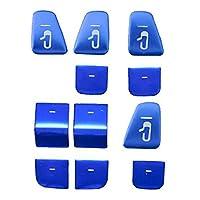 GODEAL 11個、 Model 3 Y用超薄型ウィンドウドアロックキーのパッチ、ウィンドウリフトボタンのステッカー、カバートリムアクセサリー、青色