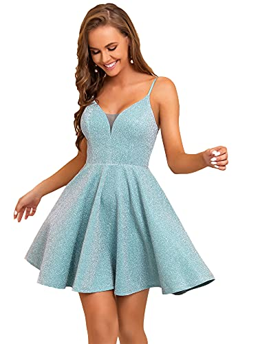Ever-Pretty Womens Elegant Sparkle Short Prom Gown Party Dress Blue US4