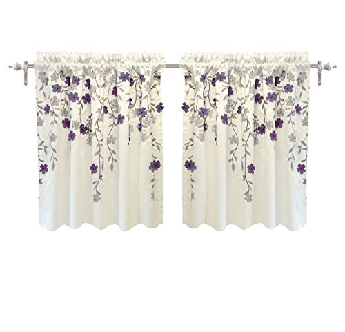 Price comparison product image DriftAway Isabella Faux Silk Embroidered Kitchen Tiers Embroidered Crafted Flower 2 Tiers 30 Inch by 24 Inch Plus 1.5 Inch Header Ivory Purple