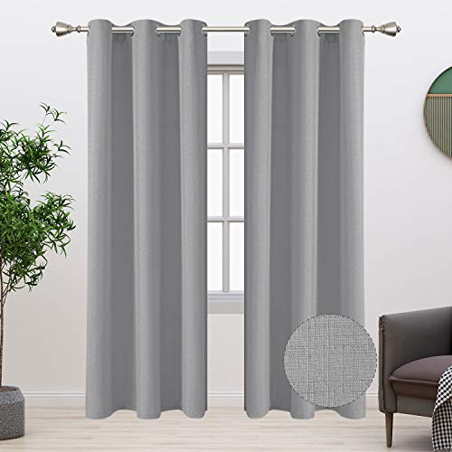 BONZER Linen Look Textured Curtains for Bedroom - Light Filtering Drapes Grommet Window Curtains for Living Room, Set of 2 Curtain Panels, 38 x 45 Inch, Silver