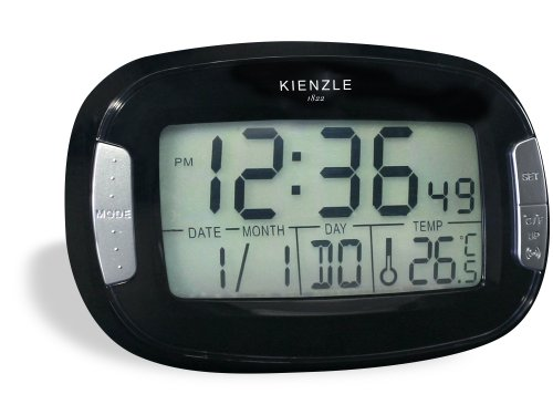 KIENZLE Unisex  Wecker Analog Quartz   LED Anzeige oval  black   A-00467