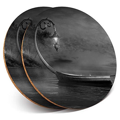 Posavasos redondos de vinilo de Destination Ltd (juego de 2) con lámpara artística vintage para barco y bebidas, protección de mesa para cualquier tipo de mesa #35937