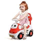 Costzon 3 in 1 Push and Ride Racer for Kids, Sliding Car, Walker & Ride On Toy, Robot Cartoon Pushing Cart w/ Sound, Light, Backrest, Safe Brake, Storage Seat, Gift for Toddler Boys & Girls (Orange)