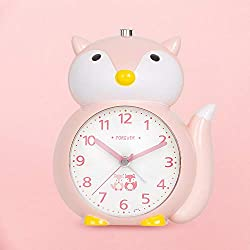 Alarm Clock for Kids, Loud Music Alarm Clock with Backlight and Snooze Function, Easy to Set Silent Battery Operated Alarm Clock for Girls Bedroom, Bedside, Gift (Fox, Pink)