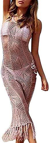 Bravoy elegante dames gehaakte kant bikini Boho verdoezelen Beach Long Beach jurk Beach zomerjurk (roze)