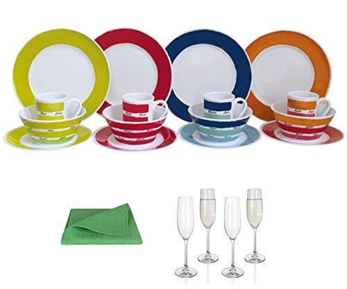 Moritz - Vajilla de melamina para 4 personas, diseño de colores + 4 copas de champán Tiamo + 1 paño de microfibra verde para camping