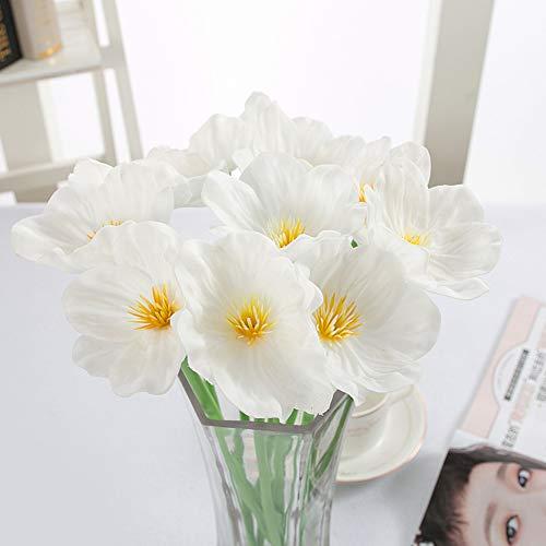 SHUHUI 1Pcs Simulation Pu Poppy Household Photography Wedding Decorations Fake Flower Feel Bouquet Factory Simulation Flower(Not Including Vase)