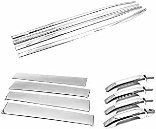 TX Racing Shipping from USA Stainless Polished Pillar Post + Window Sills + Handle Covers for 2014-2018 Chevrolet Silverado/GMC Sierra 1500/2500/3500 Crew CAB ONLY