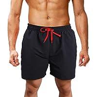 LK LEKUNI Bañador Hombre Pantalones de Playa con Forro con Cordón Traje de Baño Pantalón Ceñido_Negro_2XL