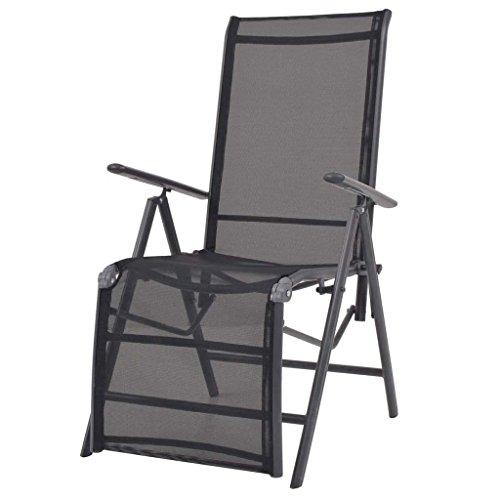 XINGLIEU Chaise Longue Pliante de Jardin Noir 58,5 × 69 × 110 cm