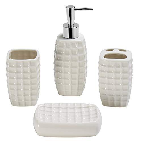 Gricol Juego de accesorios de baño de cerámica, dispensador de jabón líquido o loción, soporte para cepillo de dientes, vaso, jabonera, color blanco