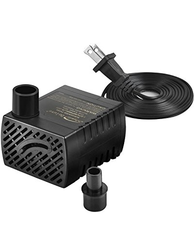 Simple Deluxe 80 GPH Submersible Pump with Adjustable Intake & 6' Waterproof Cord for Hydroponics, Aquaponics, Fountains, Ponds, Statuary, Aquariums & More, 1 Year Warranty