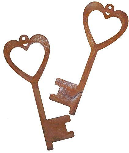 Rostikal | 2er Set Deko Schlüssel mit Herz | Vintage Rost Garten Deko aus Metall | 15 x 6 cm
