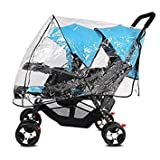 Universal Stroller Raincover Twins Strollers Double Tandem Baby Stroller Transparent PVC rain Cover for Pushchair Pram Buggy Rainproof Windproof Rain Cover with Canopy