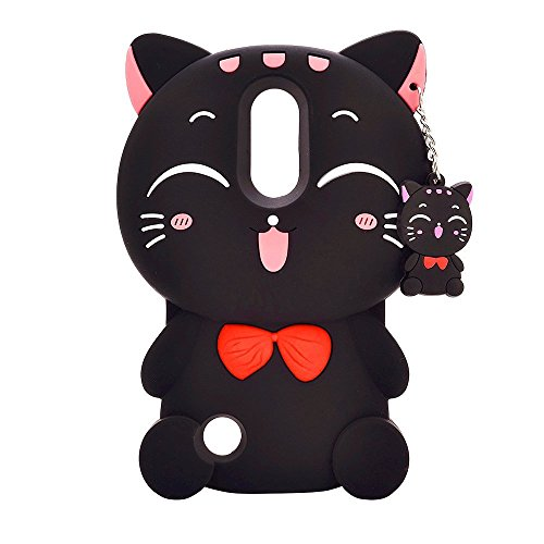 Mulafnxal Black Lucky Cat Case for LG Aristo 2,3D Soft Silicone Tribute Dynasty/K8 2018 2017//K4 2017 MS210n Cases,Cute Kids Girls Cartoon Cover,Kawaii Animal Character Rubber Protector for LG Phoenix