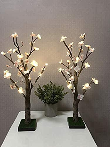 2ps 2ft 24lt Lighted Simulation of Flower Battery Powered Warm White led Artificial Branch Tree for Home Party Festival…