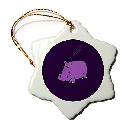 VinMea Hexagon Ornament for Christmas Trees Funny Purple Hippo Cartoon Decorative Ornaments Festival Gift 3 Inches