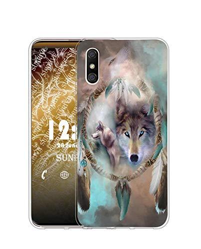 Sunrive Kompatibel mit DOOGEE X53 Hülle Silikon, Transparent Handyhülle Schutzhülle Etui Hülle (Q Wolf 5)+Gratis Universal Eingabestift MEHRWEG