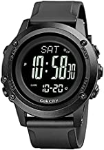 CakCity Mens Digital Sport Watches for Men Wrist Watches with Compass, Altimeter, Barometer, Large Dial, Black