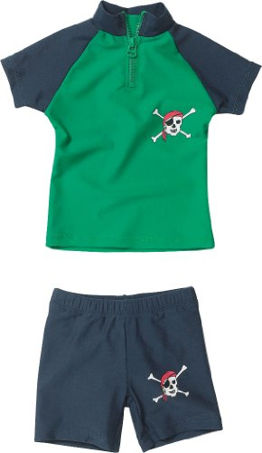 Playshoes baby - jongens zwemkleding 460082 2-delig Badset (T-shirt en zwemshorty) Pirat van Playshoes met UV-bescherming volgens standaard 801 en Oeko-Tex Standard 100