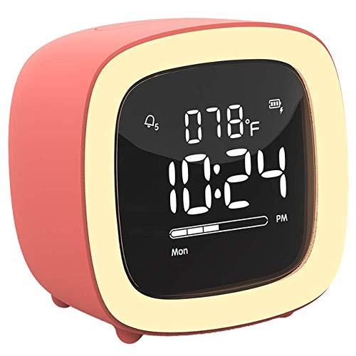 LKU Wekker Leuke TV nachtlampje wekker met digitale wekker met oplaadbare batterij