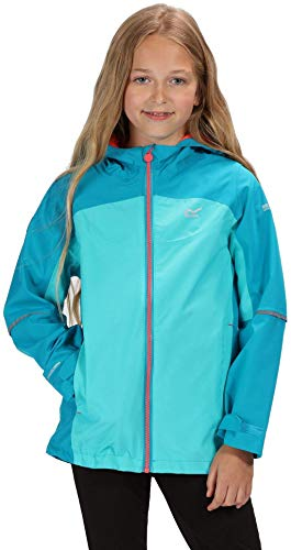 Regatta Kinder Hipoint Stretch IV Waterproof and Breathable Mesh Lined Hooded Outdoor Jacke, Emaille/Keramik, Size 9-10