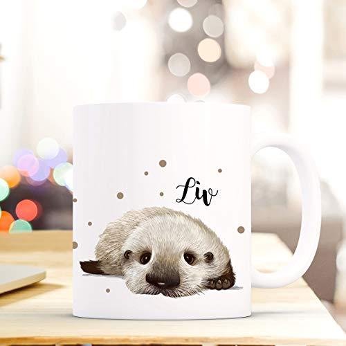 ilka parey wandtattoo-welt Tasse Becher mit Otter Baby & Punkte Geschenk mit Tiermotiv Kaffeetasse Ottertasse mit Namen Wunschnamen Kaffeebecher ts782