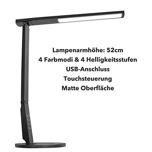 Schreibtischlampe LED TaoTronics 15W Tischlampe groß Schreibtischleuchte 4 Modi & 4 Helligkeitsstufen Tageslichtlampe, Augenschutz, Lampenarm einstellbar, USB-Anschluss zum Aufladen von USB Geräten