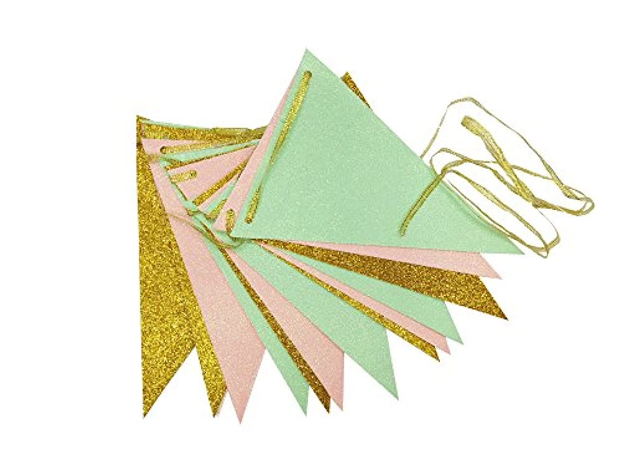 Waner Vintage Style Triangle Flags Bunting Banner Cute Pennants for Wedding Birthday Baby Shower Party Banners (10 feet) (Mint Green, Yellow Gold, Peach Pink)