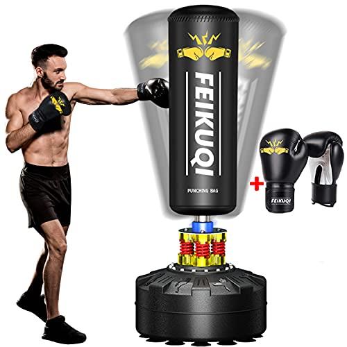 Boxsack Stehend Erwachsene, Feikuqi Standboxsack, Boxsack Gefüllt mit Saugnapf, Punching Bag mit Boxhandschuhen, Standboxsack für Fitness , BoxsackStänder, FreistehenderBoxsack Schwarz, ca.180cm