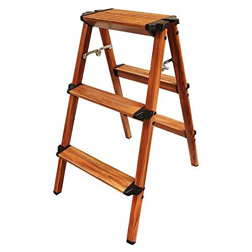 UP STORE 木目調 アルミ製ステップ台 折りたたみ脚立 片手で持てる軽量スツール おしゃれチェア キッチン踏み台 ガーデンラック (3段)