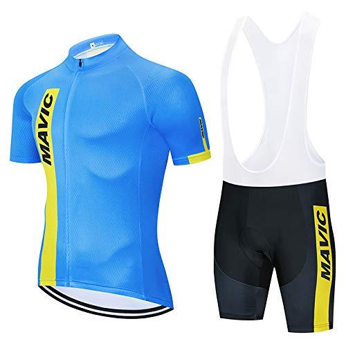 Completo Ciclismo Uomo Abbigliamento Ciclismo Estivo Manica Corta con Pantaloni Ciclismo Salopette Asciugatura Rapida Maglia Zip Uomo MTB per MTB Ciclista