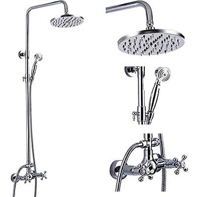 gotonovo Shower Fixture 8 Inch Rainfall Shower Head with Handheld Spray Polish Chrome Dual Knobs Mixer Bathroom Silver Shower Combo Set Wall Mount