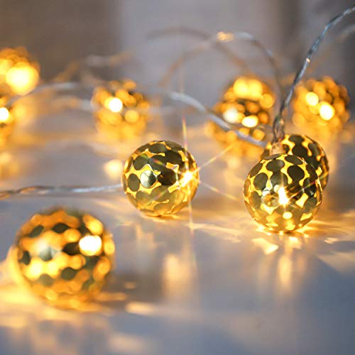 LED Globus Lichterketten, Dekorative Goldene Glühbirnen, Batteriebetrieben, 20 Warmweiß Lichter, LED Lichterketten mit Timer, Innen und Außen, 3 Meter